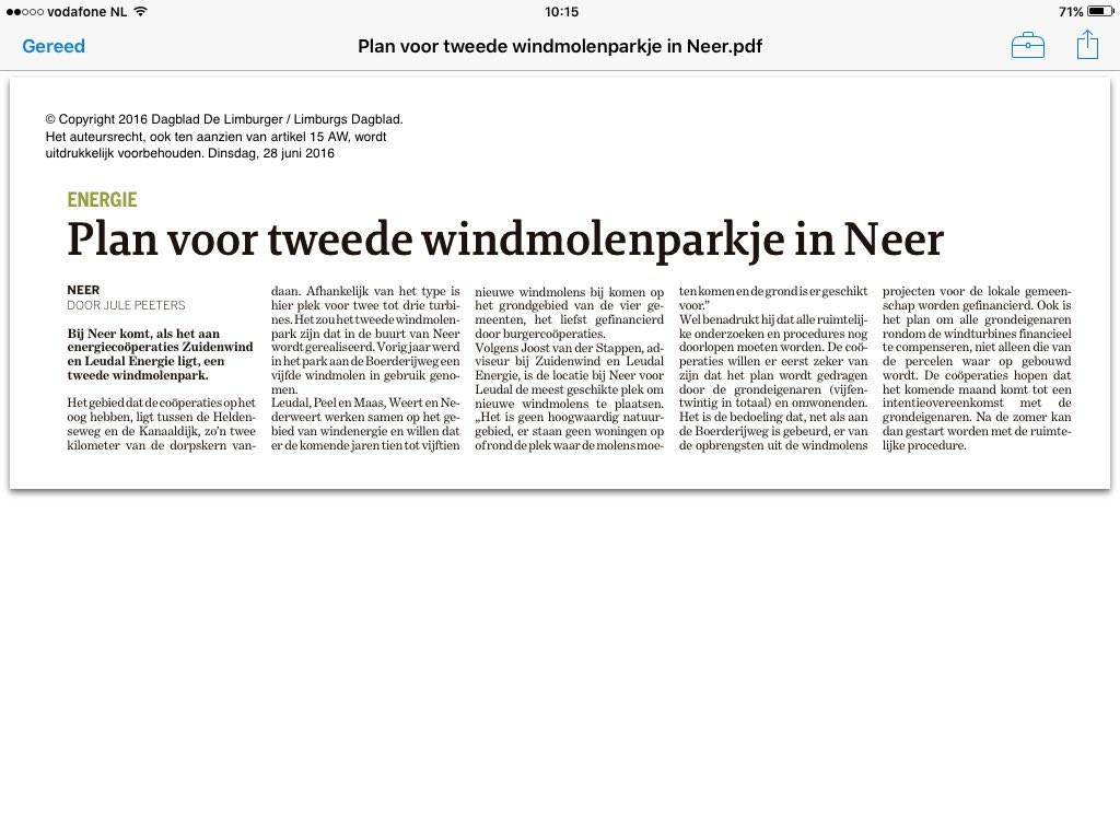 Plan voor tweede windmolenparkje in Neer Limburger